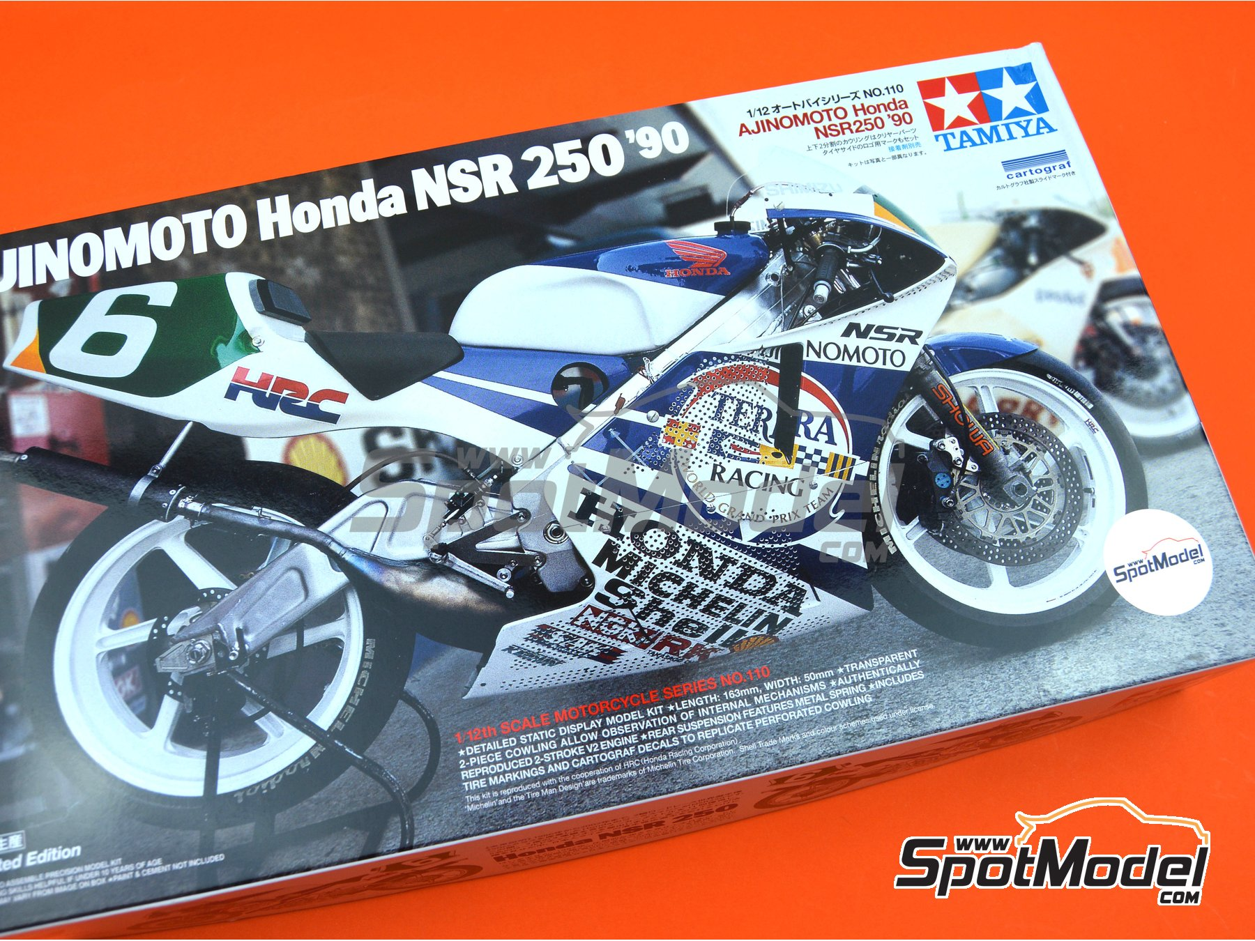 Image 10: Honda NSR250 Ajinomoto - World Road Race 1990 | Model bike kit in 1/12 scale manufactured by Tamiya (ref. TAM14110, also 14110)
