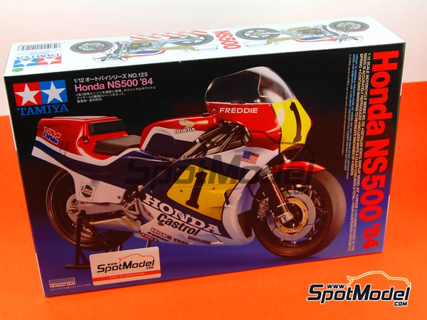 Image 14: Honda NS500 Castrol - World Championship 1984 | Model bike kit in 1/12 scale manufactured by Tamiya (ref.TAM14125, also 14125)