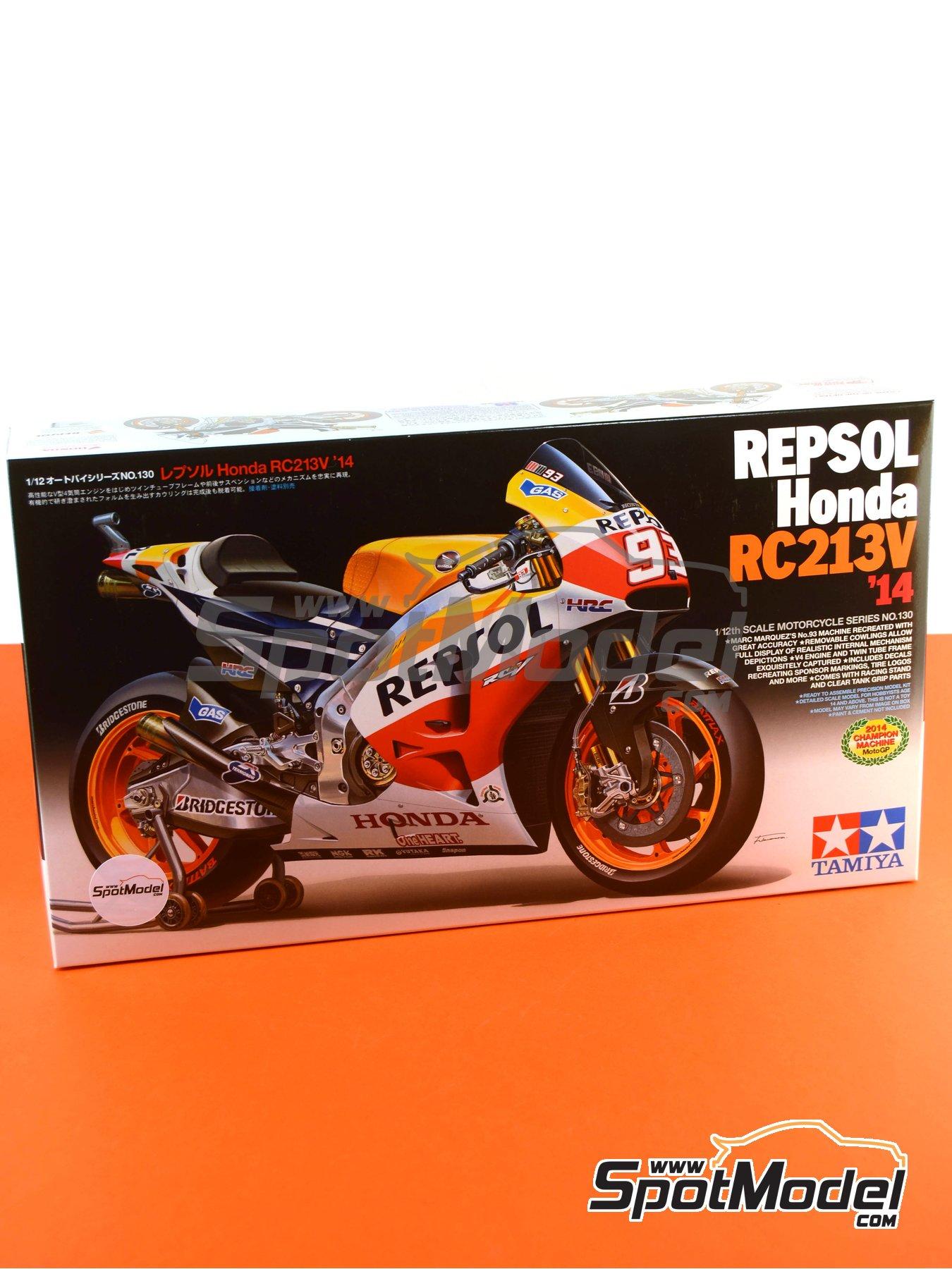 Honda RC213V Repsol - Spanish Moto GP Grand Prix 2014 | Model bike kit in 1/12 scale manufactured by Tamiya (ref.TAM14130, also 14130) image