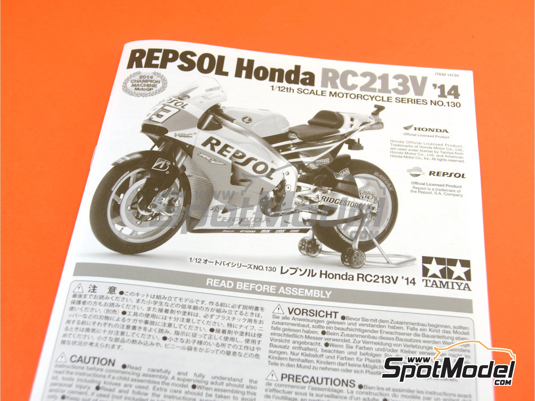Image 18: Honda RC213V Repsol - Spanish Moto GP Grand Prix 2014 | Model bike kit in 1/12 scale manufactured by Tamiya (ref.TAM14130, also 14130)