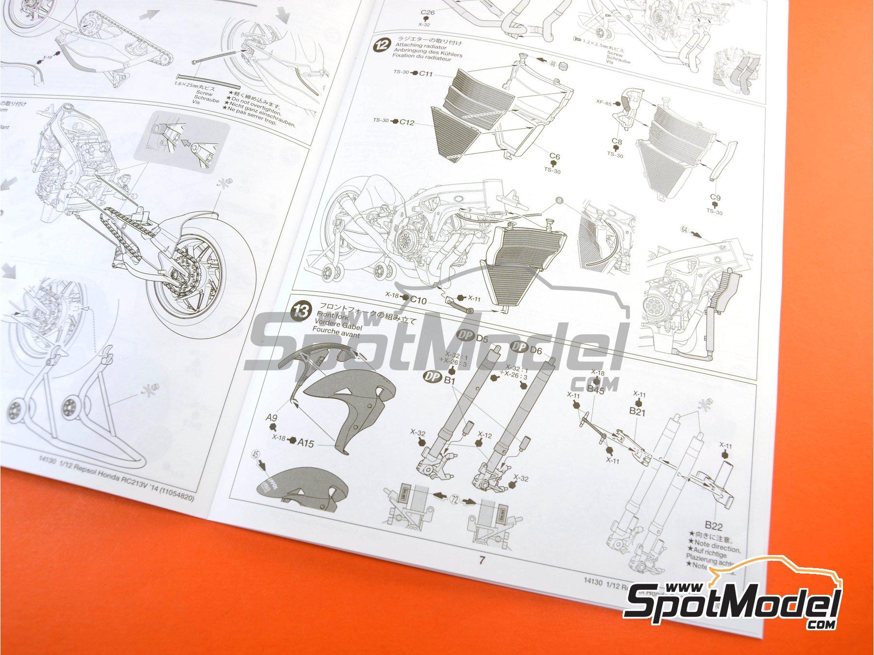 Image 20: Honda RC213V Repsol - Spanish Moto GP Grand Prix 2014 | Model bike kit in 1/12 scale manufactured by Tamiya (ref.TAM14130, also 14130)