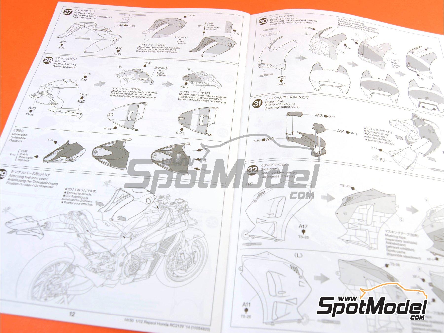Image 22: Honda RC213V Repsol - Spanish Moto GP Grand Prix 2014 | Model bike kit in 1/12 scale manufactured by Tamiya (ref.TAM14130, also 14130)