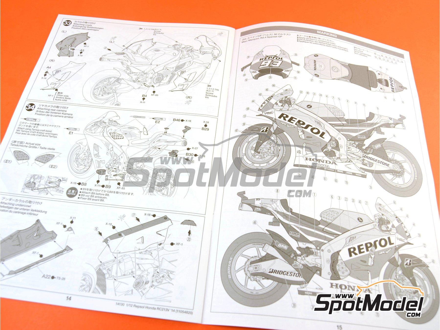 Image 23: Honda RC213V Repsol - Spanish Moto GP Grand Prix 2014 | Model bike kit in 1/12 scale manufactured by Tamiya (ref.TAM14130, also 14130)