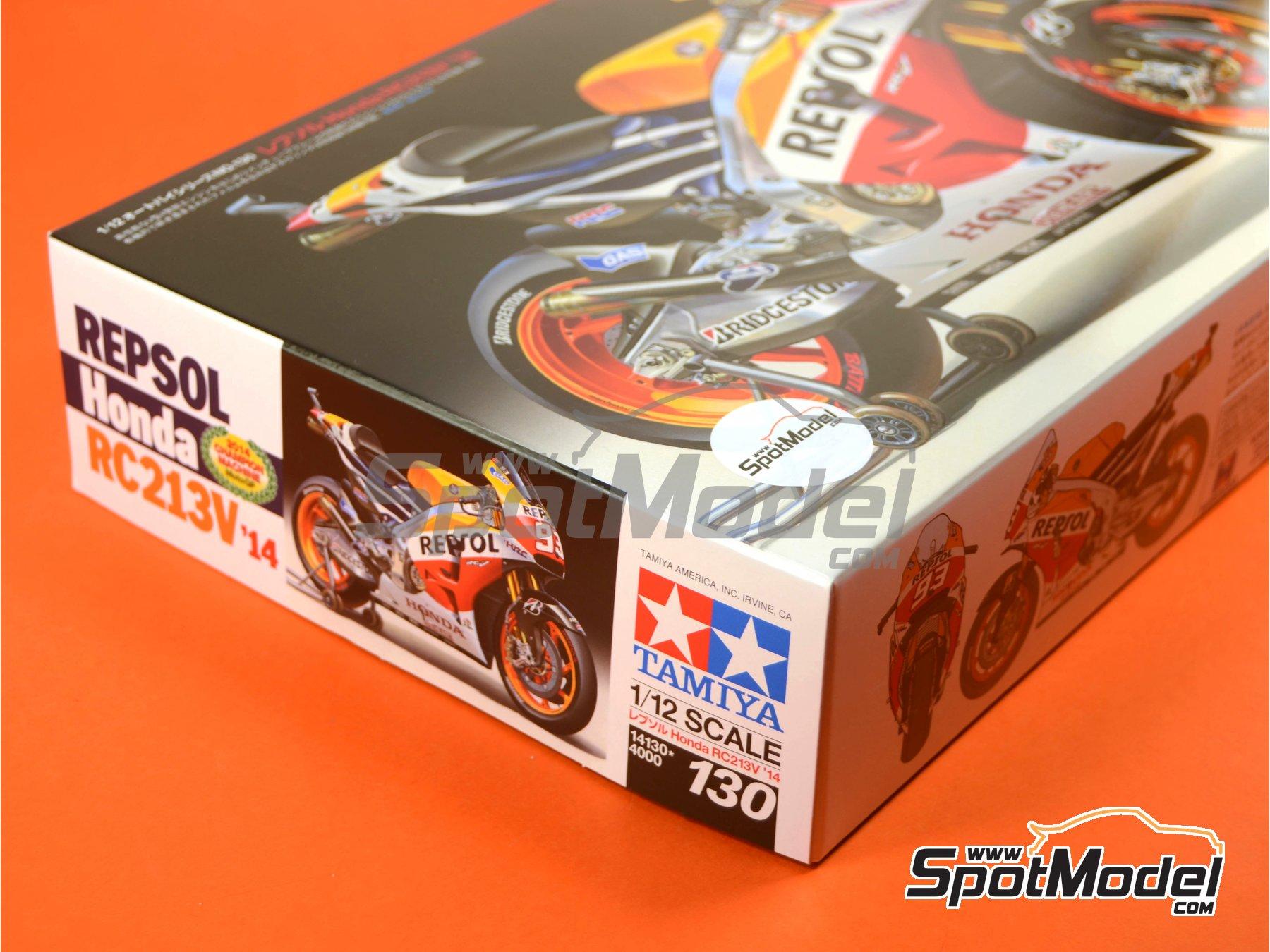 Image 24: Honda RC213V Repsol - Spanish Moto GP Grand Prix 2014 | Model bike kit in 1/12 scale manufactured by Tamiya (ref.TAM14130, also 14130)