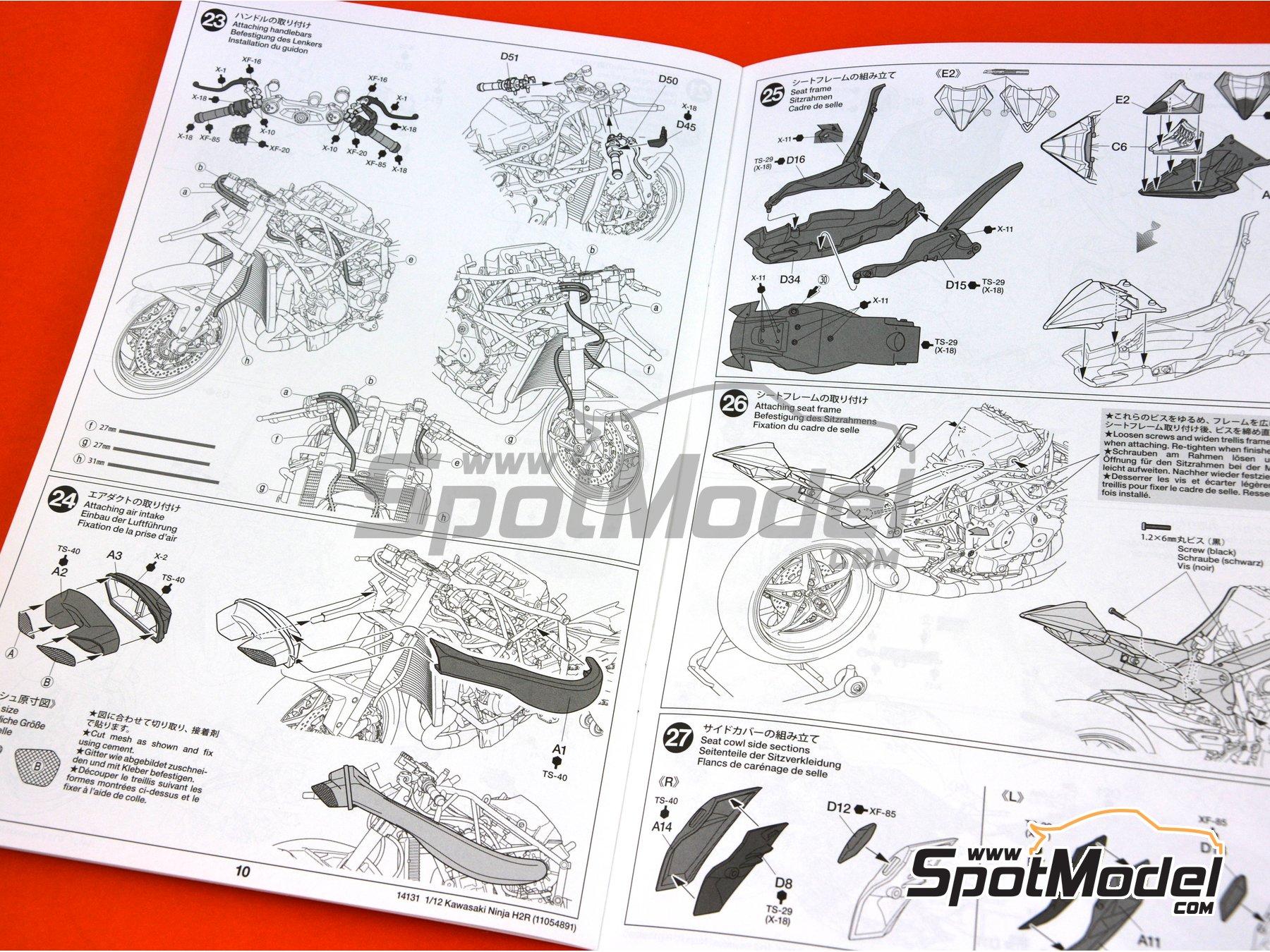 Image 20: Kawasaki Ninja H2R | Maqueta de moto en escala1/12 fabricado por Tamiya (ref.TAM14131)