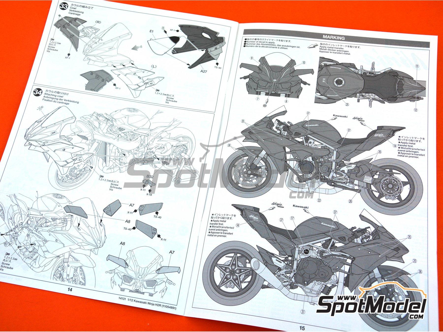 Image 21: Kawasaki Ninja H2R | Maqueta de moto en escala1/12 fabricado por Tamiya (ref.TAM14131)