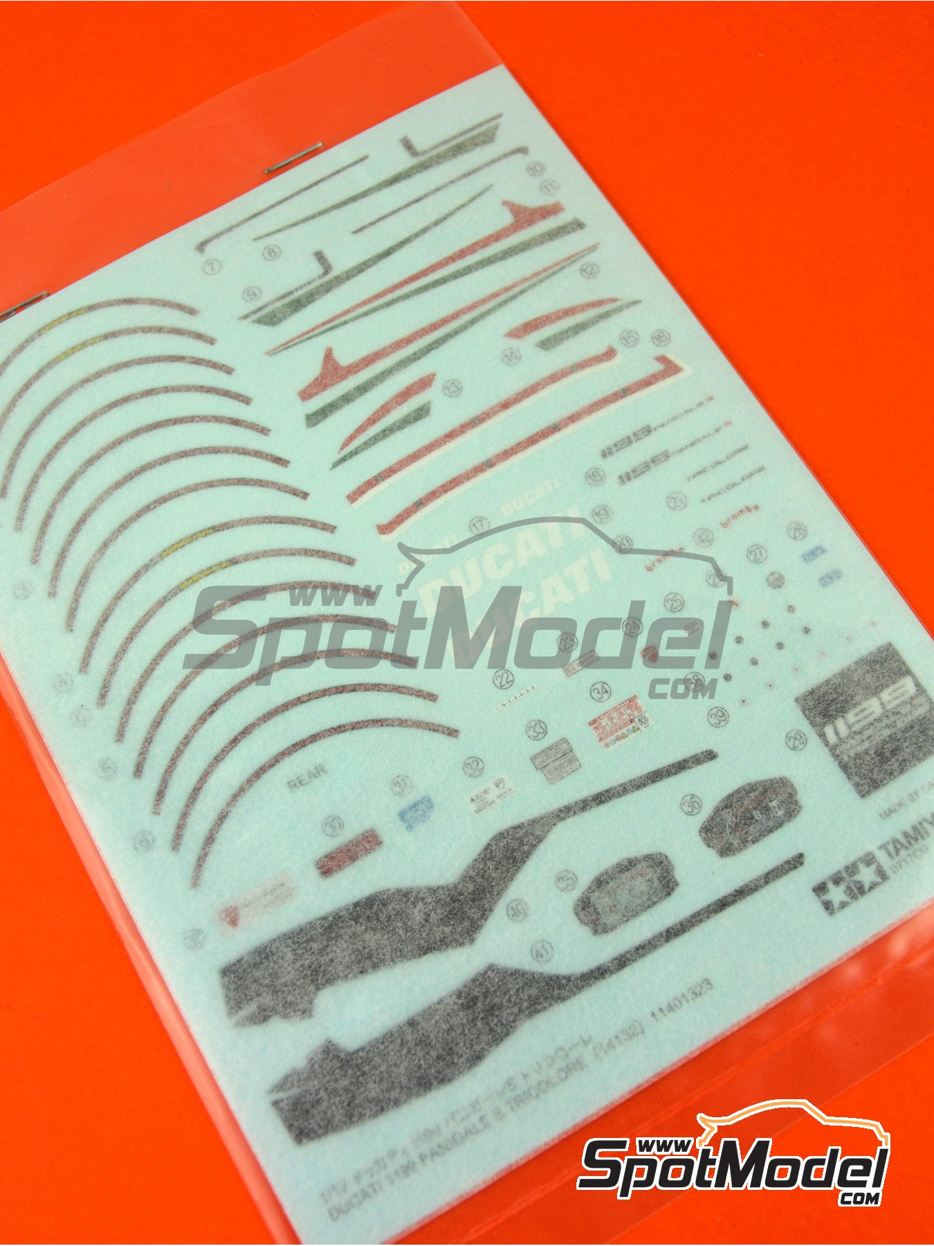Ducati 1199 Panigale S Tricolore: Decals, masks, other materials | Spare part in 1/12 scale manufactured by Tamiya (ref. TAM14132-DECALS) image