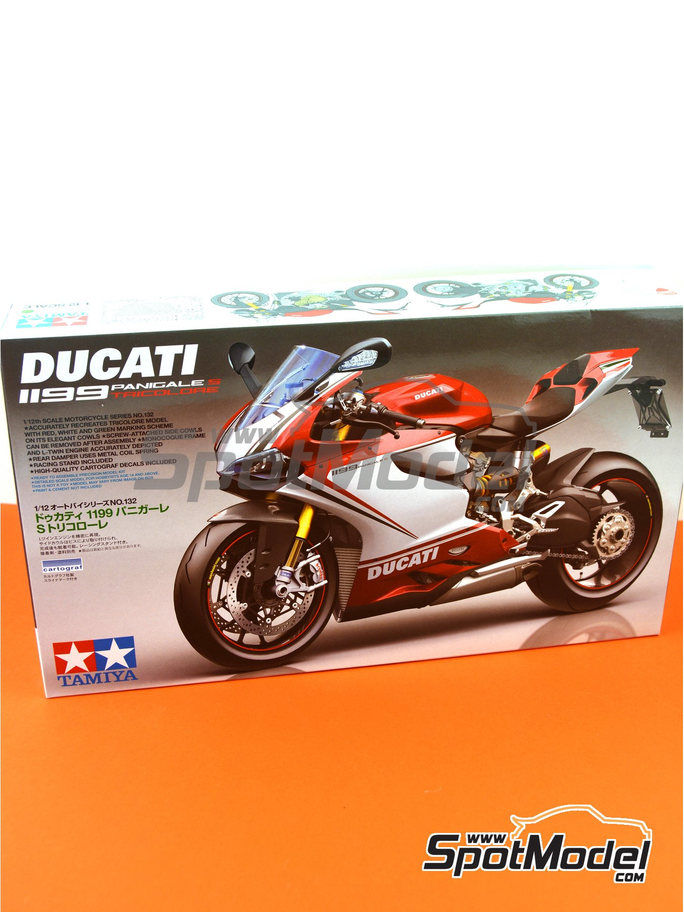 Ducati 1199 Panigale S Tricolore | Model bike kit in 1/12 scale manufactured by Tamiya (ref. TAM14132) image