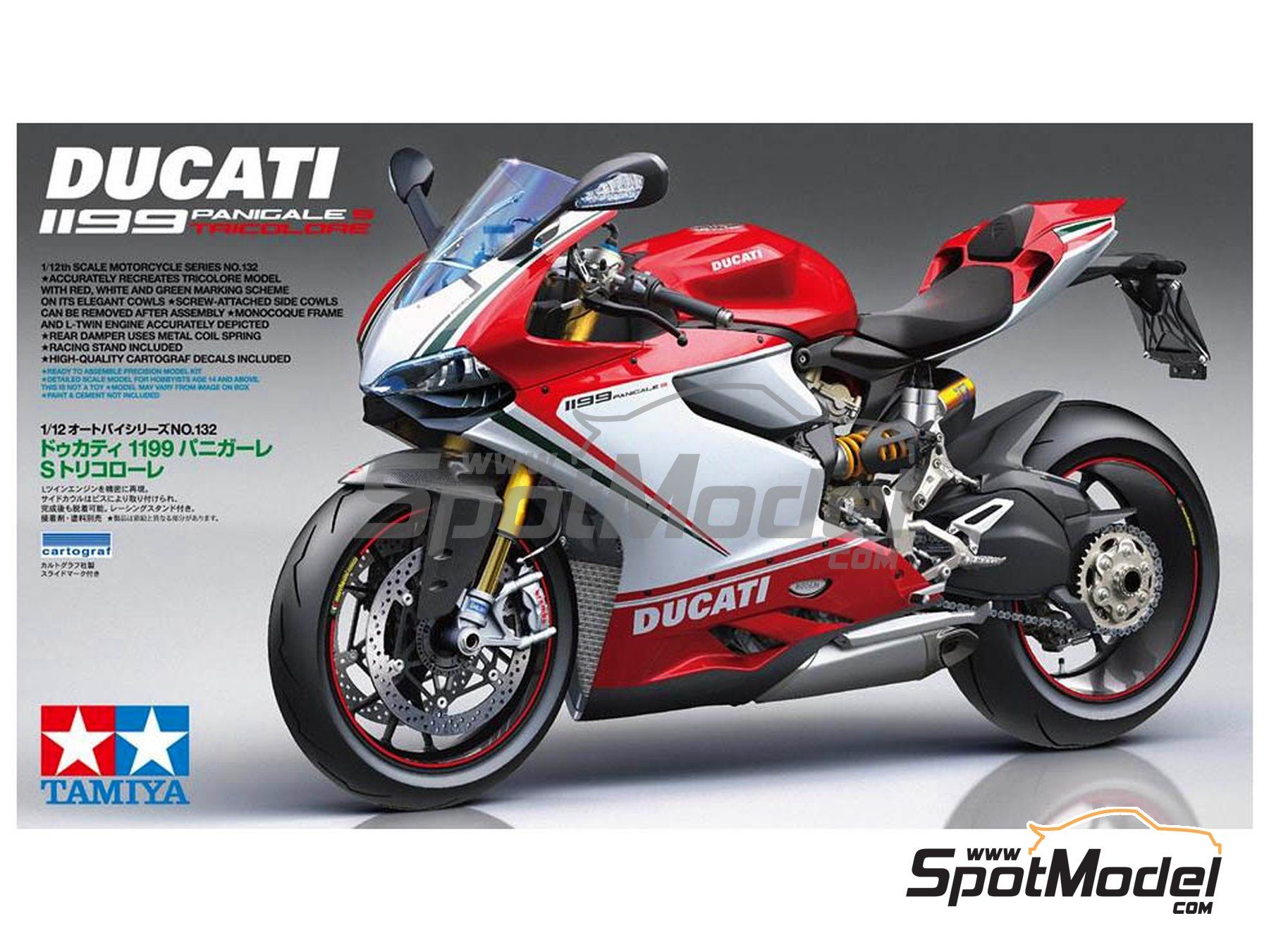 Image 1: Ducati 1199 Panigale S Tricolore | Model bike kit in 1/12 scale manufactured by Tamiya (ref. TAM14132)