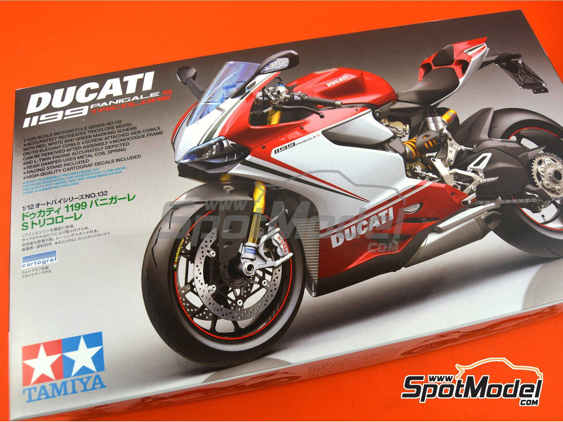 Image 16: Ducati 1199 Panigale S Tricolore | Model bike kit in 1/12 scale manufactured by Tamiya (ref. TAM14132)