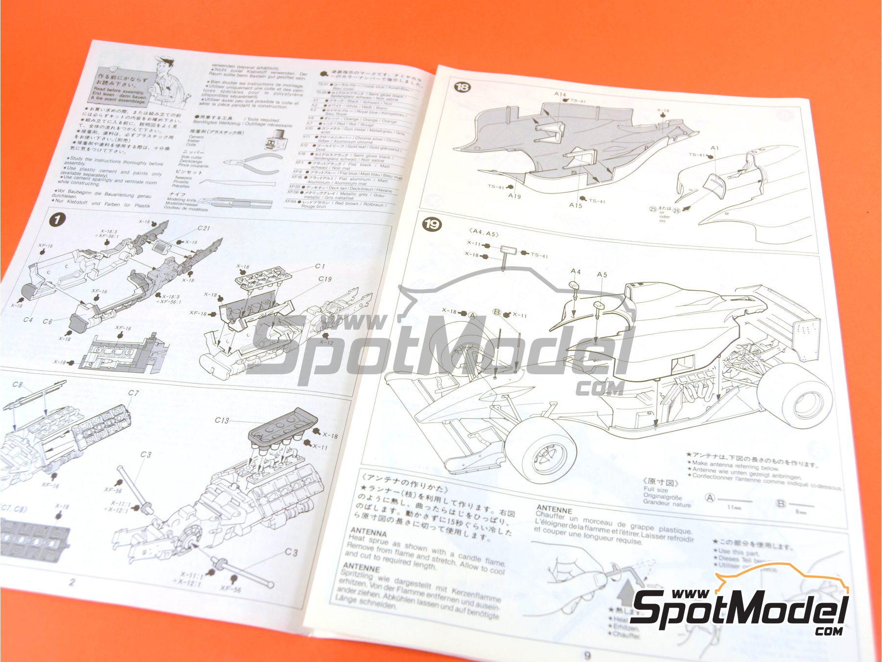 Image 9: Leyton House Judd CG901B Carglass - FIA Formula 1 World Championship 1990 | Model car kit in 1/20 scale manufactured by Tamiya (ref.TAM20028, also 20028)