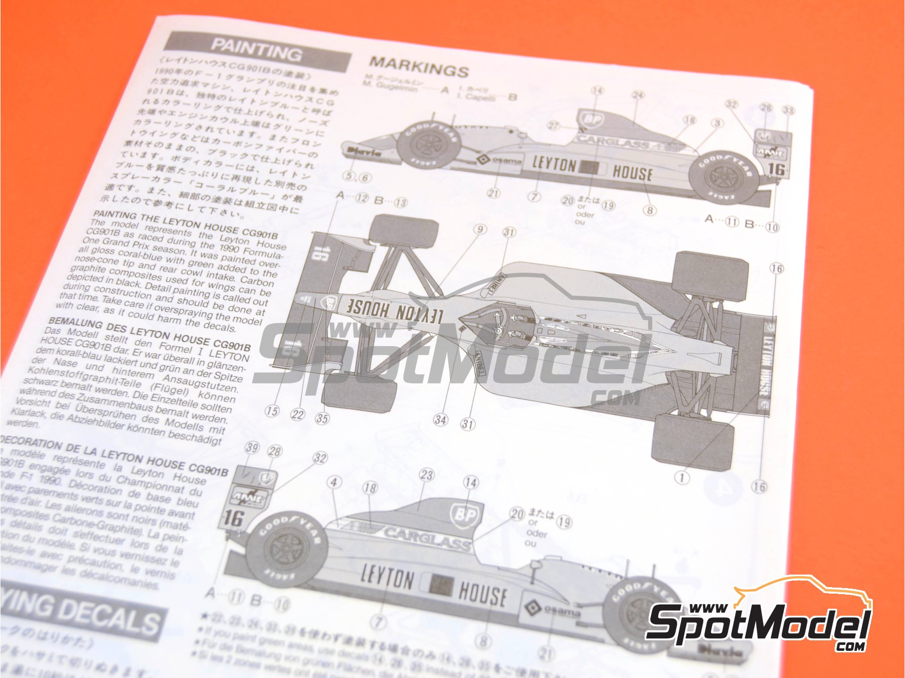 Image 10: Leyton House Judd CG901B Carglass - FIA Formula 1 World Championship 1990 | Model car kit in 1/20 scale manufactured by Tamiya (ref.TAM20028, also 20028)