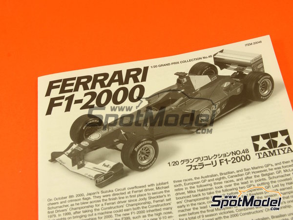 Image 1: Ferrari F1 2000 Shell - French Formula 1 Grand Prix 2000   Model car kit in 1/20 scale manufactured by Tamiya (ref.TAM20048, also 20048)