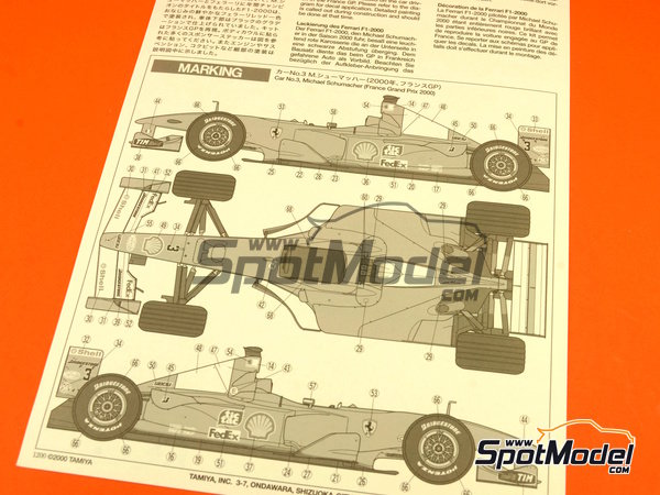 Image 12: Ferrari F1 2000 Shell - French Formula 1 Grand Prix 2000   Model car kit in 1/20 scale manufactured by Tamiya (ref.TAM20048, also 20048)
