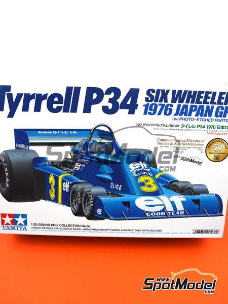 Tyrrell Ford P34 Six Wheels ELF - Japanese Formula 1 Grand Prix 1976 | Model car kit in 1/20 scale manufactured by Tamiya (ref. TAM20058, also 20058) image