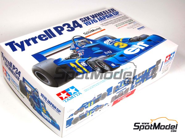 Image 1: Tyrrell Ford P34 Six Wheels ELF - Japanese Formula 1 Grand Prix 1976 | Model car kit in 1/20 scale manufactured by Tamiya (ref. TAM20058, also 20058)