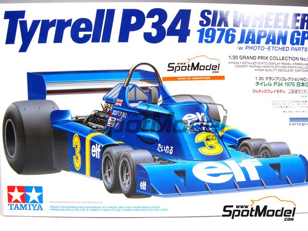 Image 2: Tyrrell Ford P34 Six Wheels ELF - Japanese Formula 1 Grand Prix 1976 | Model car kit in 1/20 scale manufactured by Tamiya (ref. TAM20058, also 20058)