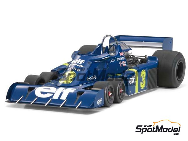 Image 3: Tyrrell Ford P34 Six Wheels ELF - Japanese Formula 1 Grand Prix 1976 | Model car kit in 1/20 scale manufactured by Tamiya (ref. TAM20058, also 20058)