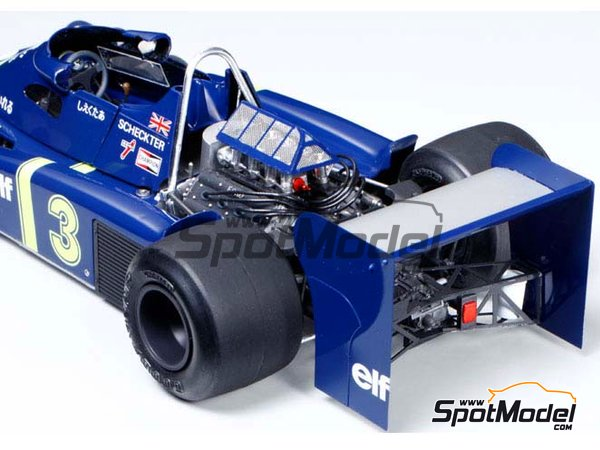Image 4: Tyrrell Ford P34 Six Wheels ELF - Japanese Formula 1 Grand Prix 1976 | Model car kit in 1/20 scale manufactured by Tamiya (ref. TAM20058, also 20058)