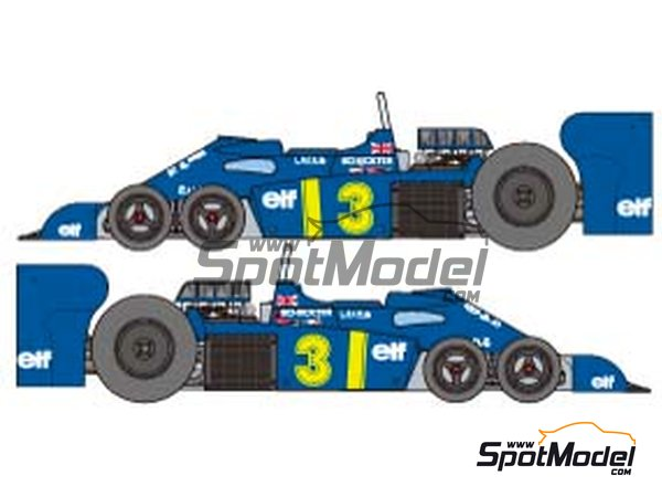 Image 9: Tyrrell Ford P34 Six Wheels ELF - Japanese Formula 1 Grand Prix 1976 | Model car kit in 1/20 scale manufactured by Tamiya (ref. TAM20058, also 20058)