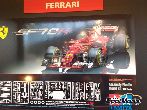 Image 10: Ferrari SF70H Banco Santander - Australian Grand Prix 2017 | Model car kit in 1/20 scale manufactured by Tamiya (ref. TAM20068)