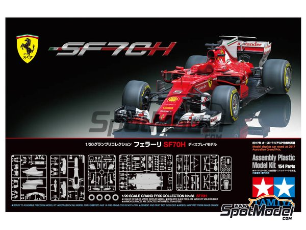Image 12: Ferrari SF70H Banco Santander - Australian Grand Prix 2017 | Model car kit in 1/20 scale manufactured by Tamiya (ref. TAM20068)
