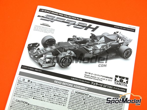 Image 31: Ferrari SF70H Banco Santander - Australian Grand Prix 2017 | Model car kit in 1/20 scale manufactured by Tamiya (ref. TAM20068)