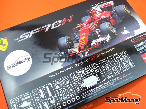 Image 35: Ferrari SF70H Banco Santander - Australian Grand Prix 2017 | Model car kit in 1/20 scale manufactured by Tamiya (ref. TAM20068)