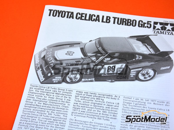 Image 4: Toyota Celica LB Turbo Group 5 - German Racing GTs Championship 1977 | Model car kit in 1/24 scale manufactured by Tamiya (ref. TAM24007)
