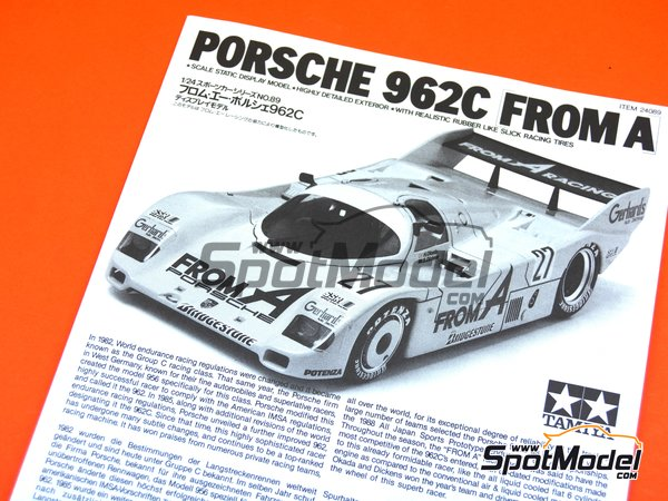Image 8: Porsche 962C From A - 24 Hours Le Mans 1989 | Model car kit in 1/24 scale manufactured by Tamiya (ref. TAM24089, also 24089)