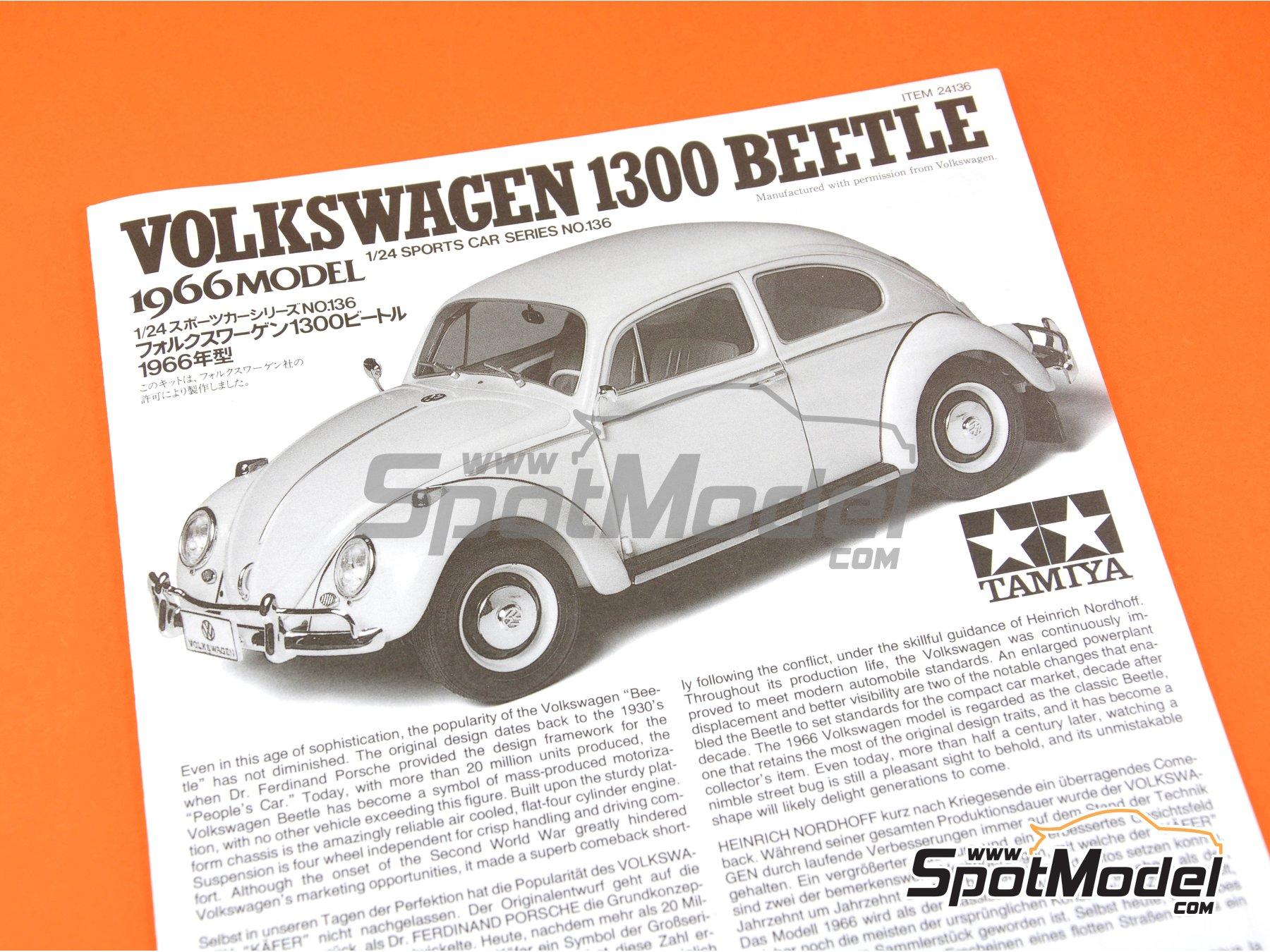 Image 9: Volkswagen Beetle 1300 -  1966 | Maqueta de coche en escala1/24 fabricado por Tamiya (ref.TAM24136, tambien 24136)