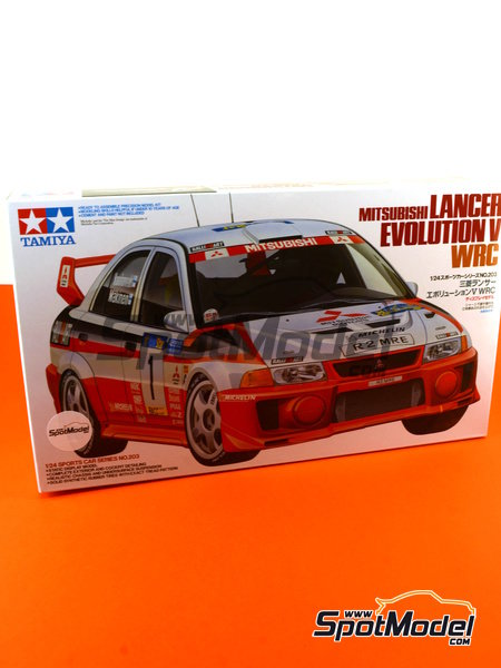 Mitsubishi Lancer Evolution V WRC - Catalunya Costa Dorada RACC Rally 1998 | Model car kit in 1/24 scale manufactured by Tamiya (ref. TAM24203) image