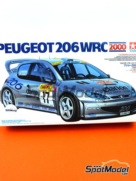 Peugeot 206 WRC Clarion - Montecarlo Rally 2006 | Model car kit in 1/24 scale manufactured by Tamiya (ref. TAM24226, also 24226) image
