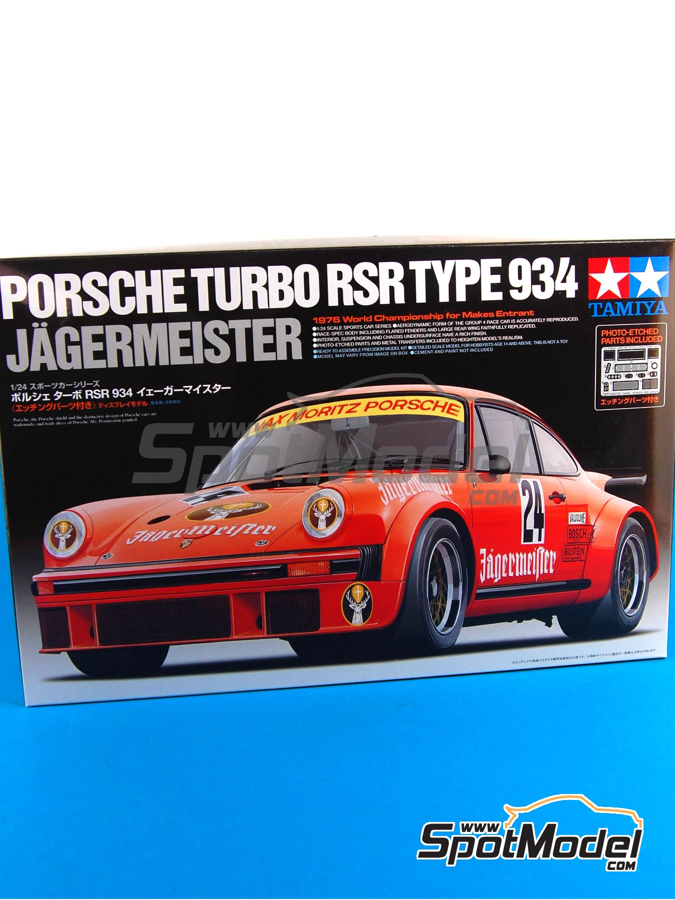Porsche 934 Turbo RSR Group 4 Jagermeister - European GT Championship 1976   Model car kit in 1/24 scale manufactured by Tamiya (ref.TAM24328, also 24328) image