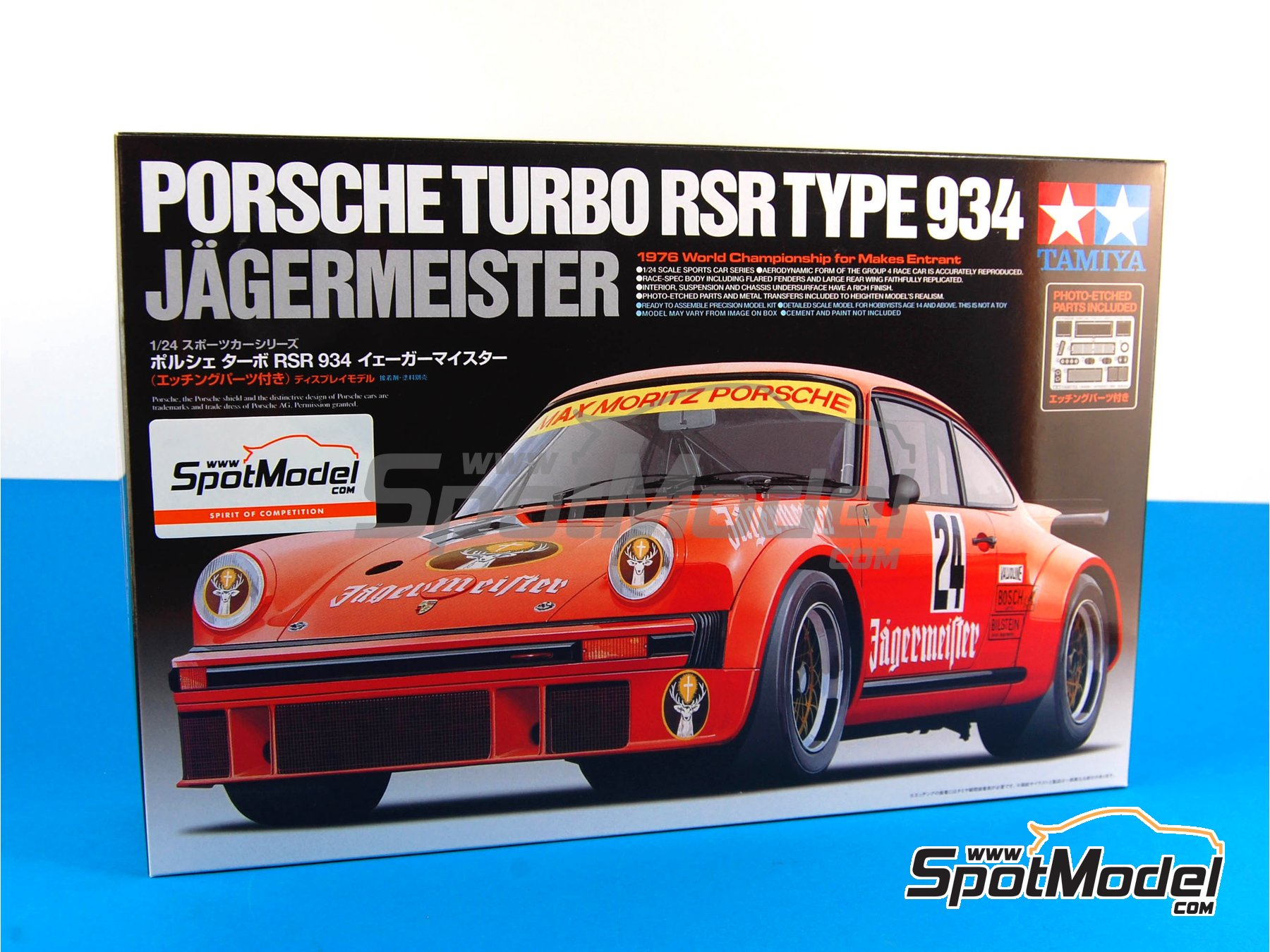 Image 1: Porsche 934 Turbo RSR Group 4 Jagermeister - European GT Championship 1976   Model car kit in 1/24 scale manufactured by Tamiya (ref.TAM24328, also 24328)