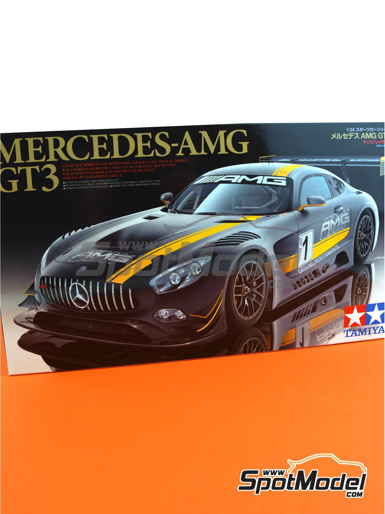 Mercedes Benz AMG GT3 | Model car kit in 1/24 scale manufactured by Tamiya (ref. TAM24345, also 24345) image