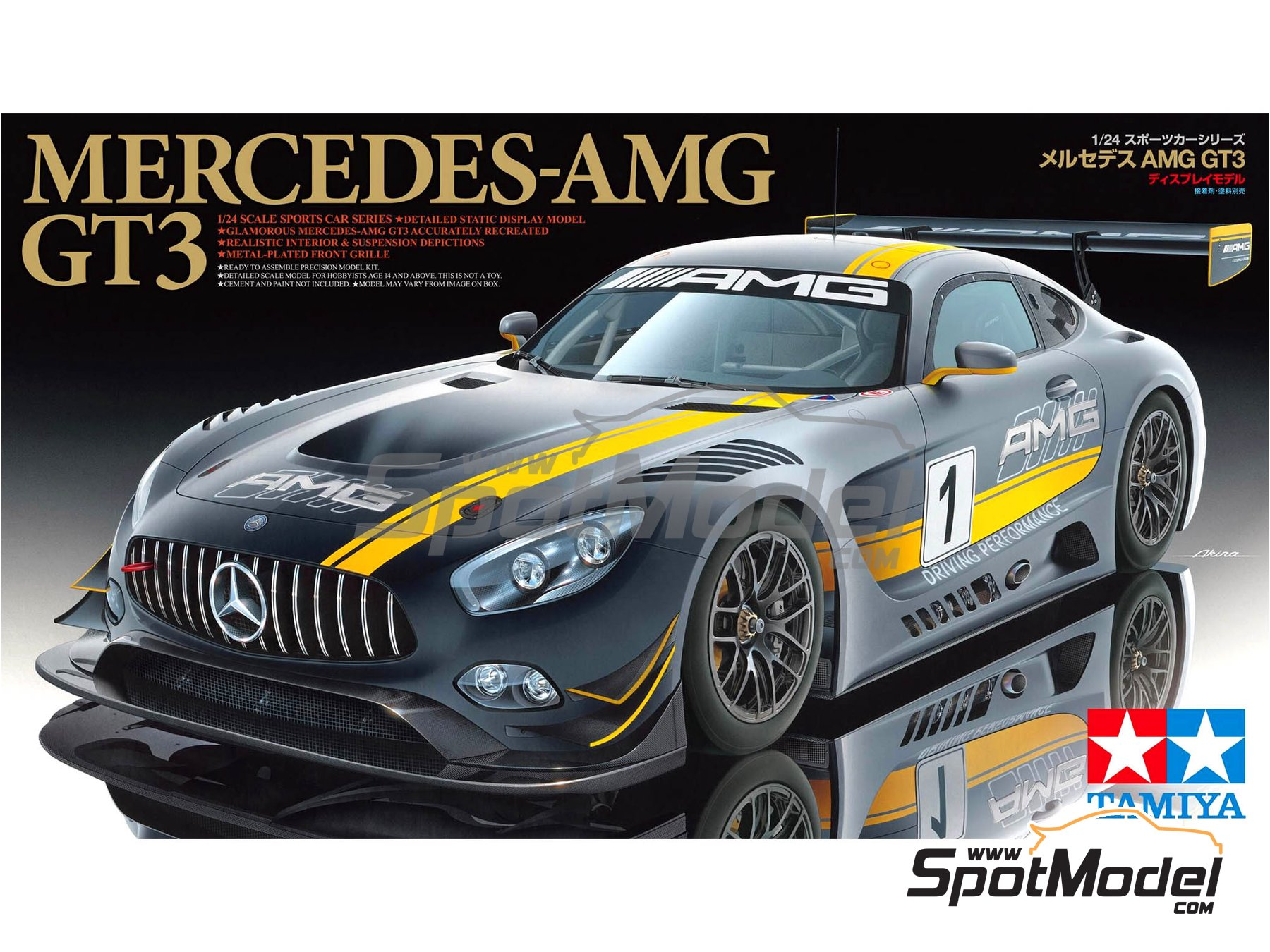 Image 1: Mercedes Benz AMG GT3 | Model car kit in 1/24 scale manufactured by Tamiya (ref. TAM24345, also 24345)