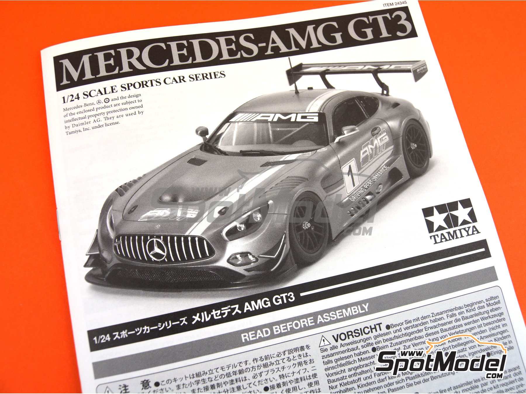 Image 13: Mercedes Benz AMG GT3 | Model car kit in 1/24 scale manufactured by Tamiya (ref. TAM24345, also 24345)