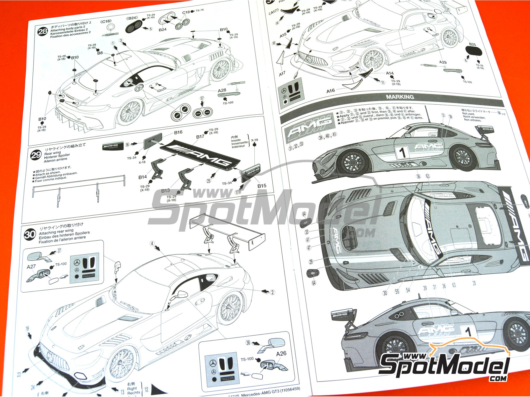Image 16: Mercedes Benz AMG GT3 | Model car kit in 1/24 scale manufactured by Tamiya (ref. TAM24345, also 24345)