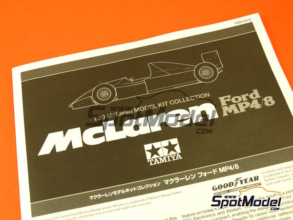 Image 1: McLaren Ford MP4/8 Courtaulds - FIA Formula 1 World Championship 1993 | Model car kit in 1/20 scale manufactured by Tamiya (ref. TAM25172, also 25172)