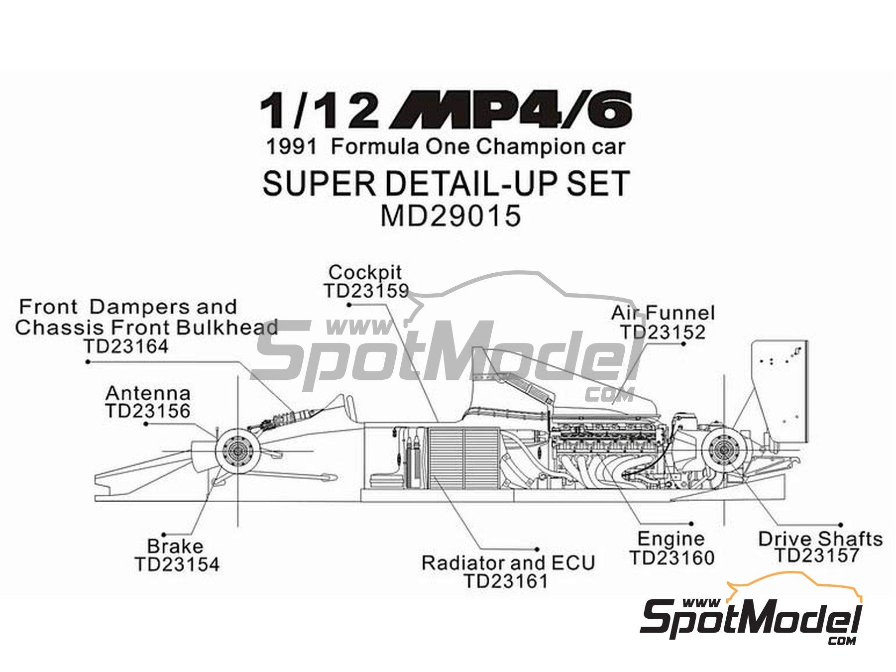 Image 16: McLaren Honda MP4/6 | Set de mejora y detallado en escala1/12 fabricado por Top Studio (ref.MD29015)