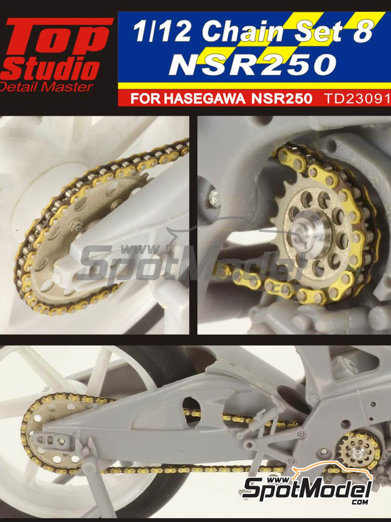 Honda NSR250 | Chain set in 1/12 scale manufactured by Top Studio (ref.TD23091) image