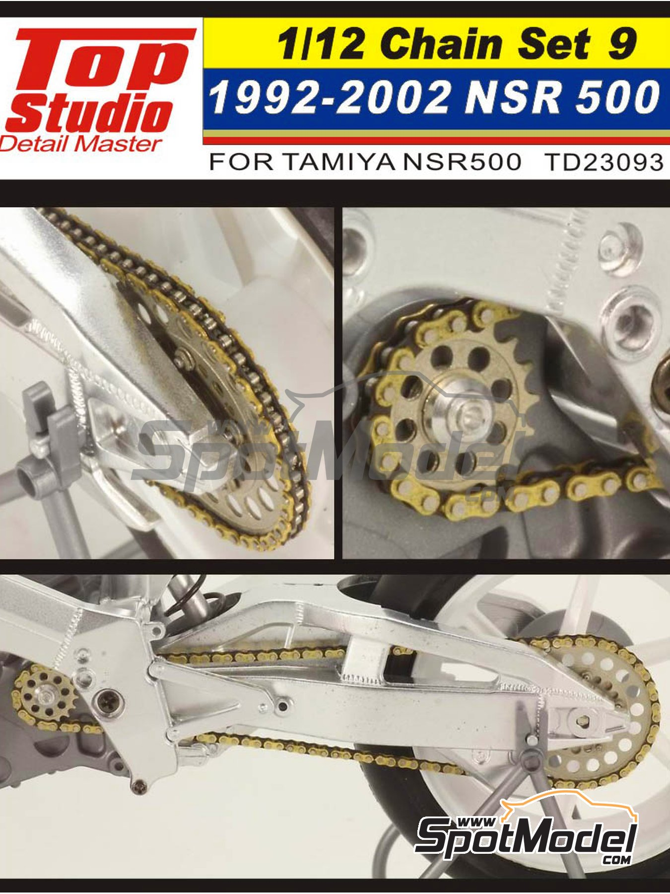 Honda NSR500 - Motorcycle World Championship 1992, 1993, 1994, 1995, 1996, 1997, 1998, 1999, 2000, 2001 and 2002 | Chain set in 1/12 scale manufactured by Top Studio (ref. TD23093) image