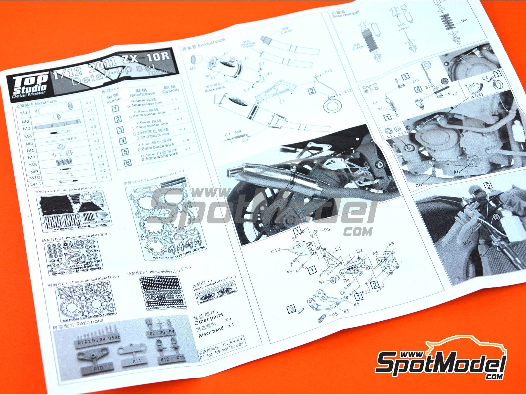 Image 19: Kawasaki ZX-10R -  2011 | Set de mejora y detallado en escala1/12 fabricado por Top Studio (ref.TD23099)