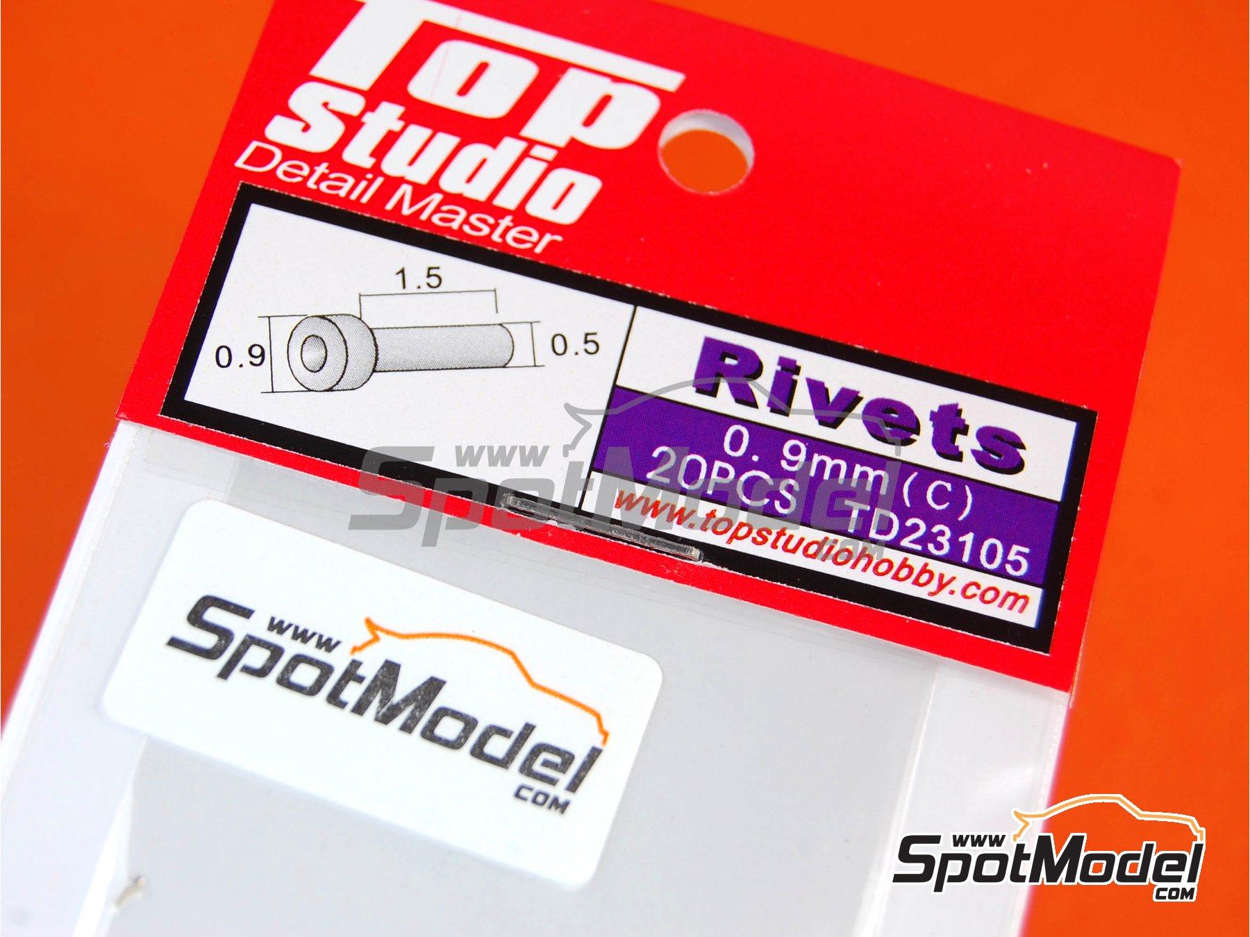Image 2: Remaches con cabeza plana de 0.9mm | Remaches fabricado por Top Studio (ref.TD23105)