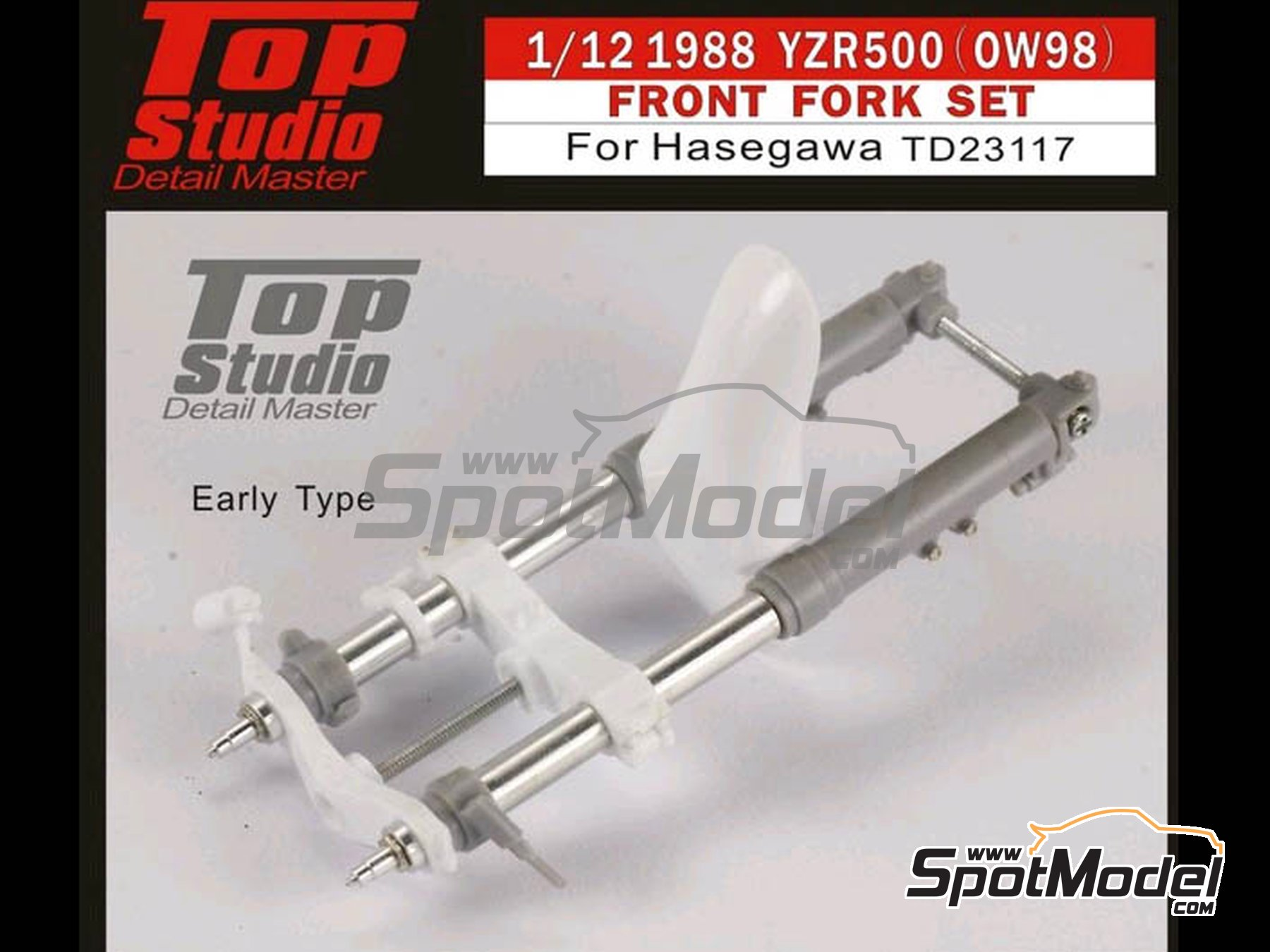 Image 1: Yamaha YZR500 OW98 -  1998 | Front fork set in 1/12 scale manufactured by Top Studio (ref. TD23117)