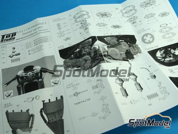 Image 19: Ducati 1199 Panigale S | Set de mejora y detallado en escala1/12 fabricado por Top Studio (ref.TD23141)
