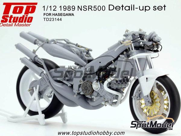 Image 5: Honda NSR500 - Campeonato del Mundo de Motociclismo 1989 | Set de mejora y detallado en escala1/12 fabricado por Top Studio (ref.TD23144)