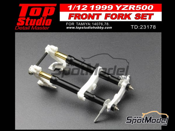 Image 1: Yamaha YZR500 OWK6 - Motorcycle World Championship 1999 | Front fork set in 1/12 scale manufactured by Top Studio (ref. TD23178)