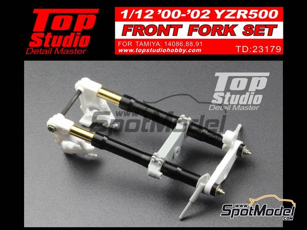 Image 1: Yamaha YZR500 - Motorcycle World Championship 2000, 2001 and 2002 | Front fork set in 1/12 scale manufactured by Top Studio (ref. TD23179)